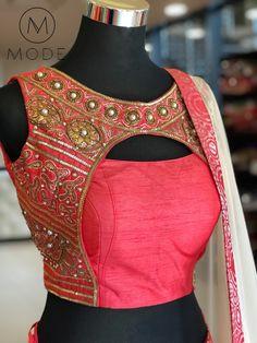 Pink jacket style latest designer hand zardosi work Designer wedding saree lehenga blouses To inquire whatsapp 918888328116 or ethnicdiagmailcom Blouse Back Neck Designs, Stylish Blouse Design, Fancy Blouse Designs, Choli Designs, Sari Blouse Designs, Bridal Blouse Designs, Blouse Styles, Latest Blouse Designs, Style Oriental