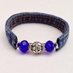 Denim Dark Blue Beaded Wrap Jean Bracelet, Recycled Upcycled Eclectic Wrap Cuff Braclet, Blue & Silver Beads Denim Seams by EverydayWomenJewelry on Etsy https://www.etsy.com/listing/234832404/denim-dark-blue-beaded-wrap-jean
