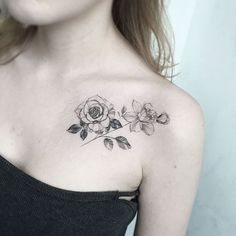 Image result for collarbone rose tattoos