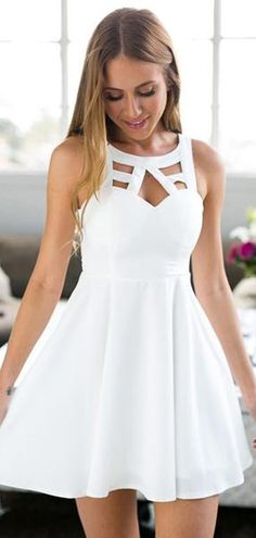 On Sale Feminine Prom Dresses Short, A-Line Jewel Short White Satin Homecoming Dress With Lace White Homecoming Dresses, Hoco Dresses, Dresses For Teens, Dance Dresses, Casual Dresses, Summer Dresses, Prom Dress, Graduation Dresses, Summer Outfits