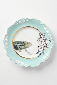 Natural World Dessert Plate, Chameleon - Anthropologie.com | My new favorite treasure.