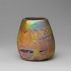Favrile, looks like raku pottery, by L.C.