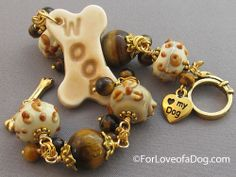 Woof Dog Bone Bracelet Tigerseye Lampwork Gold at ForLoveofaDog.com