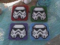 Perler Bead Storm Trooper Coasters Set of 4 by angelferret