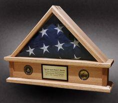 Red Oak Flag Display Case