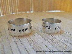 Hand stamped pure silver ring dive now work by FtiagmenoStoXeri, €25.00