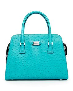 Michael Kors Gia Ostrich-Embossed Leather Satchel, Turquoise - Neiman Marcus