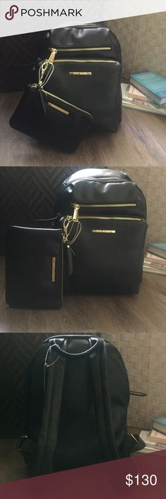 NEW Steve Madden Black Backpack & Bonus Pouch Brand New with tag! Gorgeous Steve Madden backpack with bonus pouch (the pouch is not attached to the backpack)  This is a medium size backpack perfect for traveling, school, and everyday wear! The pouch can be used to carry all your tid bits! Color: black with gold zippers. Steve Madden Bags Backpacks