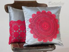red and grey pillow
