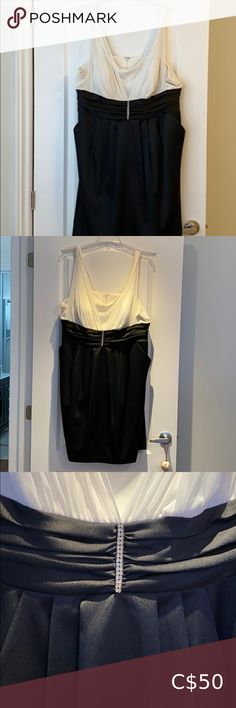 A dress It's a black and white dress. With shear straps. Great for a fancy occasion. With pockets on each side laura plus Dresses Prom Plus Fashion, Fashion Tips, Fashion Design, Fashion Trends, Plus Dresses, Prom Colors, Empire, White Dress, Pencil