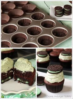 Chocolate Mint Oreo Cupcakes (makes 24 cupcakes) For the cake: 1 box Devils Food Cake Mix 1 small box (3.9oz) Chocolate Instant Pudding 1 cup vegetable oil ¾ cup milk 4 eggs 24 Cool Mint Oreos •...