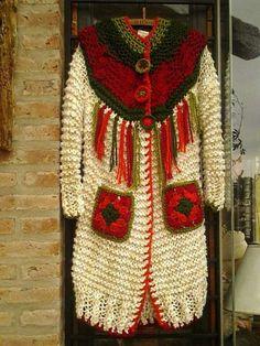 . Crochet Coat, Crochet Jacket, Crochet Cardigan, Crochet Clothes, Knitting Patterns, Crochet Patterns, Sweater Coats, Sweaters, Knitwear