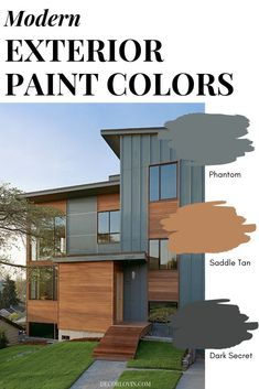 Modern Exterior Paint Colors Paint your home with confidence using this modern paint color guide! 9 different modern exterior paint color combinations that will look good on any home. Pick your favorite one! Exterior Paint Color Combinations, House Paint Color Combination, Exterior Paint Colors For House, Color Schemes, Cabin Exterior Colors, Outside House Paint Colors, Best Exterior Paint, Modern Paint Colors, Paint Colors For Home