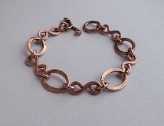 Copper chain bracelet handmade, metalwork ,copper bracelet hammered, Copper Jewelry