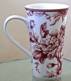 222 FIFTH ADELAIDE MAROON RED TALL LATTEE COFFEE  TEA CUP NEW PORCELAIN #222FIFTH
