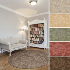 Hand-loomed Otero Two-tone Contemporary Floral Wool Area Rug (8' Round)   Overstock.com Shopping - Great Deals on Round/Oval/Square