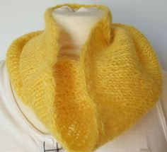 Hand-knitted Pride cowl in lovely yellow luxury yarn