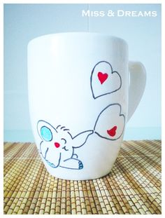 TAZA decorada Elefante ♥ corazón