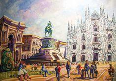 PLAZA DEL DUOMO (MILAN). Oleo sobre lienzo. 100 x 81 x 3,5 cm.