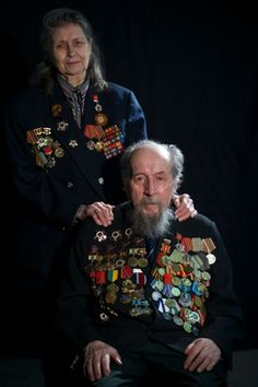Alexei Stefanov and his wife Lyudmila Stefanova from Moscow, Russia. Stefanov took part in the Battle of Stalingrad. Alexander Zemlianichenko/AP