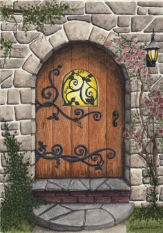 Original Painting Stone Arched Door by Parrish on Etsy, $350.00