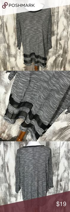 """Cable & Gauge Gray and Black Blouse No holes or stains. Across underarms approx 27"""" and length approx 27.5"""" Cable & Gauge Tops"""