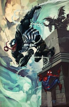 Marvel Comic Book Artwork • Venom & Spider-Man. Follow us for more awesome comic art, or check out our online store www.7ate9comics.com