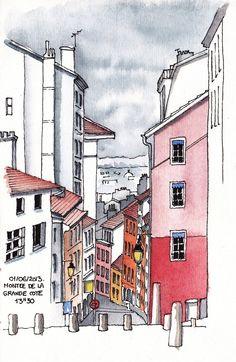 Rencontre nationale des Urban Sketchers à Lyon   Jérôme MOTTE