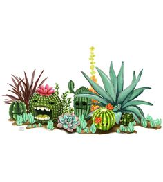 Cactus monsters hiding in your garden! - by Alida Loubser (Artwork medium: Digital painting in Adobe Photoshop, Wacom Intuos tablet) Wacom Intuos, Succulents Garden, Adobe Photoshop, Monsters, Cactus, Photo And Video, Digital, Medium, Artwork