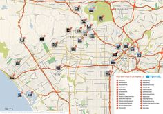 Map of Los Angeles tourist sights and attractions from Tripomatic. Road Trip Los Angeles, Los Angeles Map, San Diego, San Francisco, California Tourist Attractions, Tourist Map, Map Of London City, Los Angeles Tourism, Map Of Switzerland