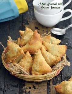 Mini Spinach and Cheese Samosa ~ The Mini Spinach and Cheese Samosas are simply wow and will be finished within minutes of serving! | Tarla Dalal