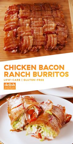 Bacon Ranch Burritos These Low-Carb Burritos Use A Bacon Weave Tortilla!DelishThese Low-Carb Burritos Use A Bacon Weave Tortilla! Healthy Diet Recipes, Ketogenic Recipes, Mexican Food Recipes, Low Carb Recipes, Cooking Recipes, Bacon Recipes Keto, Cooking Cake, Cooking Pork, Bacon Dinner Recipes