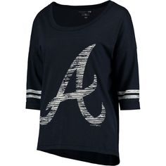Be seen in style and dedication with this comfy Atlanta Braves & Ocean by New Era MLB slub ¾ sleeve scoop with hi lo hem T-shirt. With trendy distressed graphics, this tee will keep your team look fresh. 5 Oceans, Braves Baseball, Brave Women, Atlanta Braves, Mlb, My Style, Mens Tops, How To Wear, T Shirt