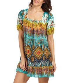 Palme Green & Orange Geometric Short-Sleeve Dress | zulily