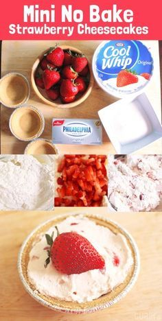 Easy Mini Strawberry No Bake Cheesecake recipe - made with ingredients available at Walmart. (mini cheesecake cupcakes no bake) Mini No Bake Cheesecake, Mini Strawberry Cheesecake, Baked Cheesecake Recipe, Oreo Cheesecake, Pumpkin Cheesecake, Juniors Cheesecake, Homemade Cheesecake, Classic Cheesecake, Mini Desserts