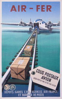 air france air fer colis postaux avion : 1949 affiches anciennes de RENLUC
