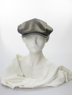 Gold cotton denim baker boy cap. Summer wear | Philip Treacy | Made in England