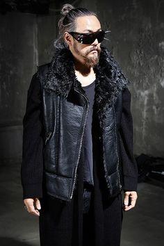 Faux Fur & Leather Aviator Vest