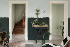 Using this palette helps create a boho-eclectic style in the home; shades of green here pair perfectly with wood tones and a variety of plants. Denim Drift, Half Painted Walls, Dulux Valentine, Urban Nature, Romanticism, Shades Of Green, Color Inspiration, Ladder Decor, Paint Colors