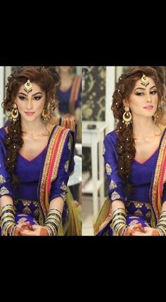# indian Hairstyles for suits Mehndi Hairstyles, Indian Wedding Hairstyles, Punjabi Hairstyles, Pakistani Bride Hairstyle, Bollywood Hairstyles, Look Fashion, Indian Fashion, Look Short, Desi Wedding