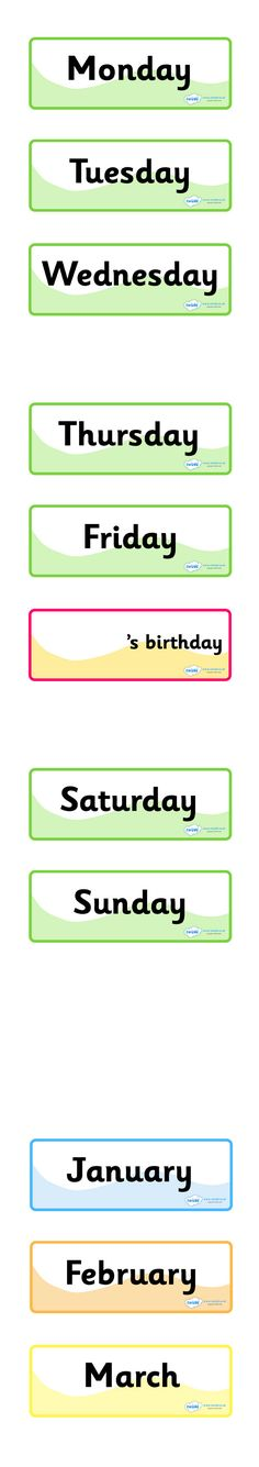 Twinkl Resources >> Days of The Week Months of The Year Labels  >> Classroom printables for Pre-School, Kindergarten, Primary School and beyond! days of the week, months of the year, labels, printables