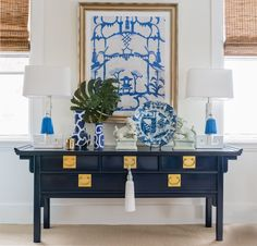 Pretty Blue and White Chinoiserie Vignette by Trellis Home Design. Vintage lacquered Ming Console, Colorful Tassels, and Accessories via www.trellishomedesign.com