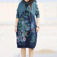 Комбинированное платье с цветочным принтом и капюшоном