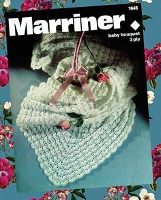 Items similar to PDF Vintage Pretty Baby Christening Shawl Blanket Crochet Pattern, 'Bouquet' Shetland Lace Marriner 1648 Heirloom Baby Doll Antique on Etsy Crochet Baby Shawl, Crochet Blanket Patterns, Crochet Motif, Baby Patterns, Vintage Knitting, Vintage Crochet, Baby Knitting, Baby Bouquet, Baby Christening