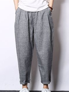 Cheap hop pants, Buy Quality mens hip hop pants directly from China drop crotch pants men Suppliers: 2017 Casual Loose Drawstring Feet Retro Chinese style Linen Mens Hip Hop Pants Drop Crotch Pants Men Haren Pants Sharp Dressed Man, Well Dressed Men, Drop Crotch Pants Men, Dynasty Clothing, Korean Street Fashion, Casual Street Style, Men Dress, Men's Pants, Harem Pants Men
