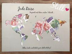 Geldgeschenk Weltkarte Jede Reise .. Geburtstag von Still-Love