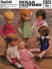 HAYFIELD VINTAGE DOLL'S CLOTHES KNITTING PATTERN BOOKLET H/15 SASHA TYPE DOLLS