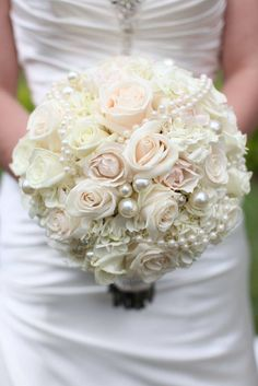 Ivory and cream rose bouquet with pearls