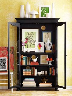 Fun way to use a china cabinet; hmmm, where will I store the china if I repurpose ours?