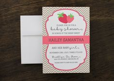 Berry Sweet Strawberry Baby Shower Invitation by Paperelli on Etsy https://www.etsy.com/listing/190801898/berry-sweet-strawberry-baby-shower